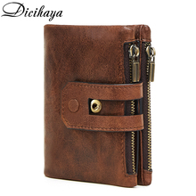 DICIHAYA Rfid Genuine Cow Leather Wallet Men Coin Purse Male