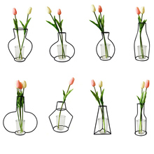Hot Sale Creative Wrought Iron Vase Abstract Black Lines Minimalist Dried Flower Racks Nordic Ornament