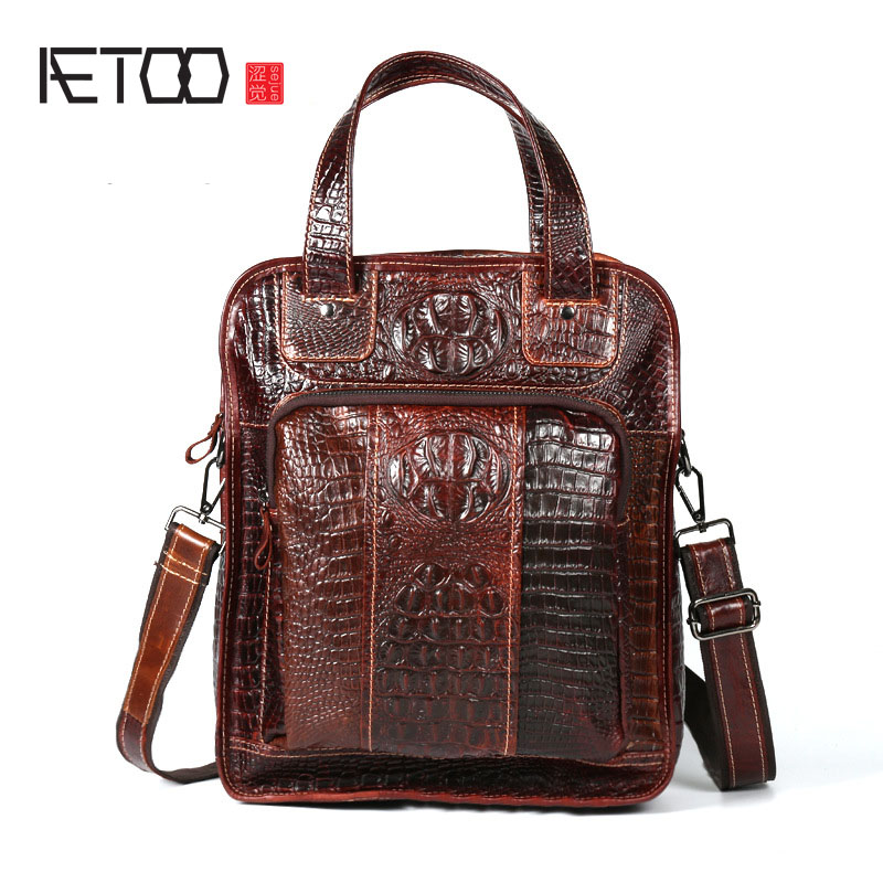AETOO Leather crocodile pattern cowhide shoulder shoulder Messenger shoulder bag three multi-purpose large-capacity electric power tool hand drill 44mmx14 5mm bevel gear pinion set for dragon 04 10a