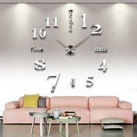 Hot 3D Large Wall Clocks Mirror Wall Stickers DIY Clock Modern Design Horloge Murale Reloj De Pared Wand Klok