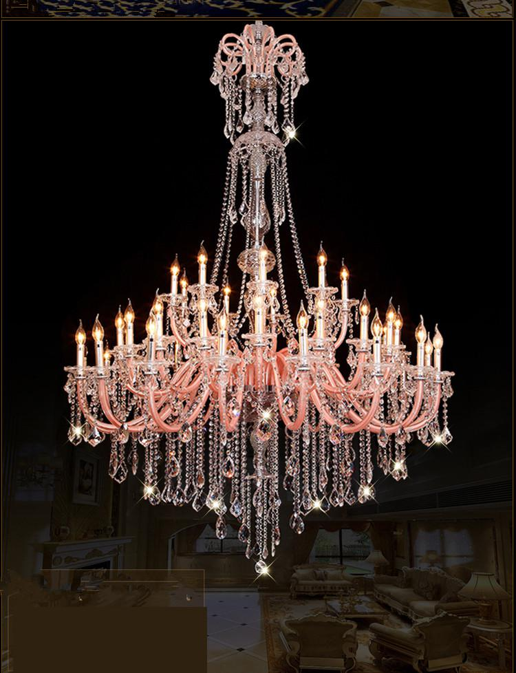 Extra large 45 light multi color Contemporary candle holder lamp chandelier for church Palace Hall long lustres de cristal light