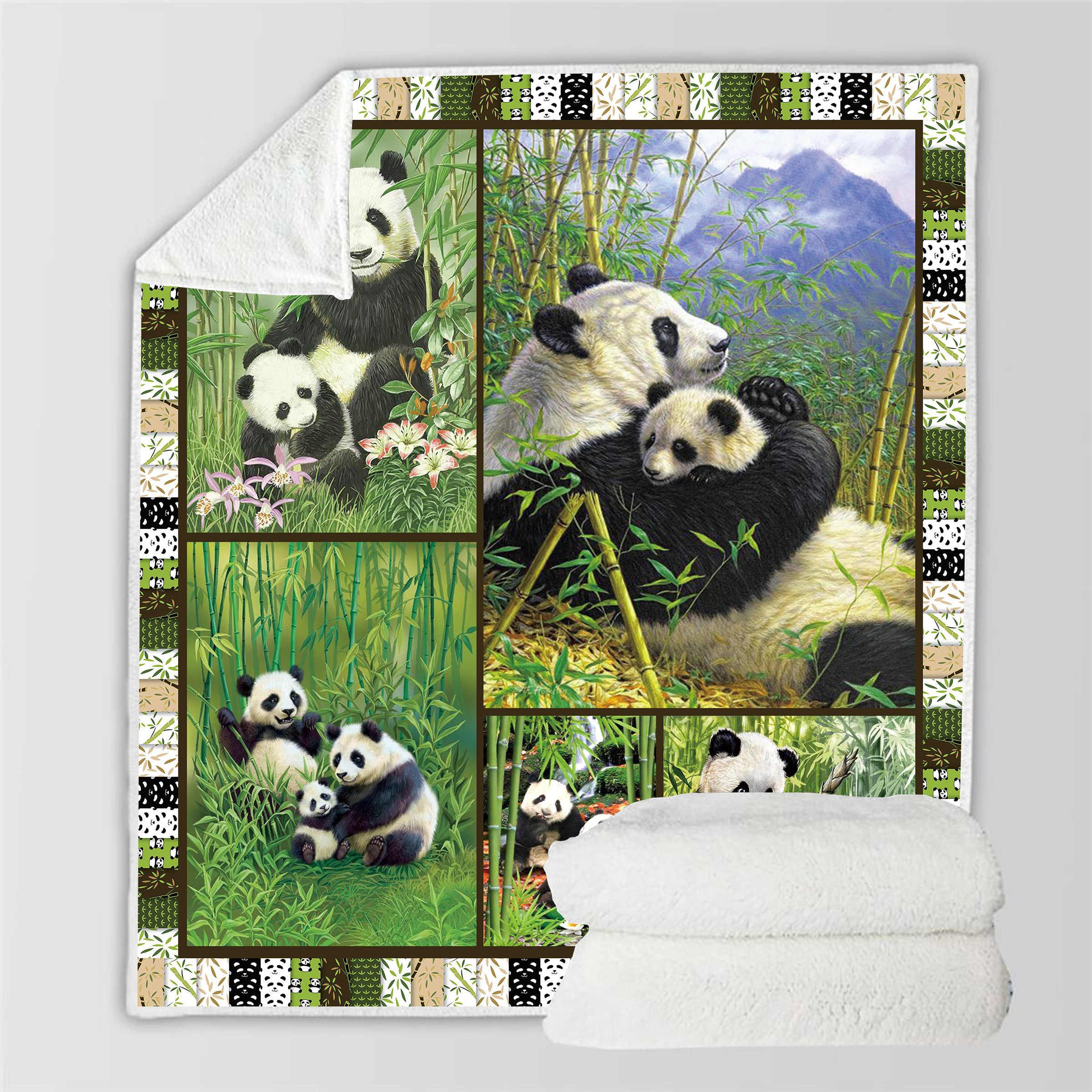 3D Panda Sherpa Blanket Back to School Scotland Pattern Custom Bed Sofa Printed Fleece Plush Throw Blanket Bedspread Blanket