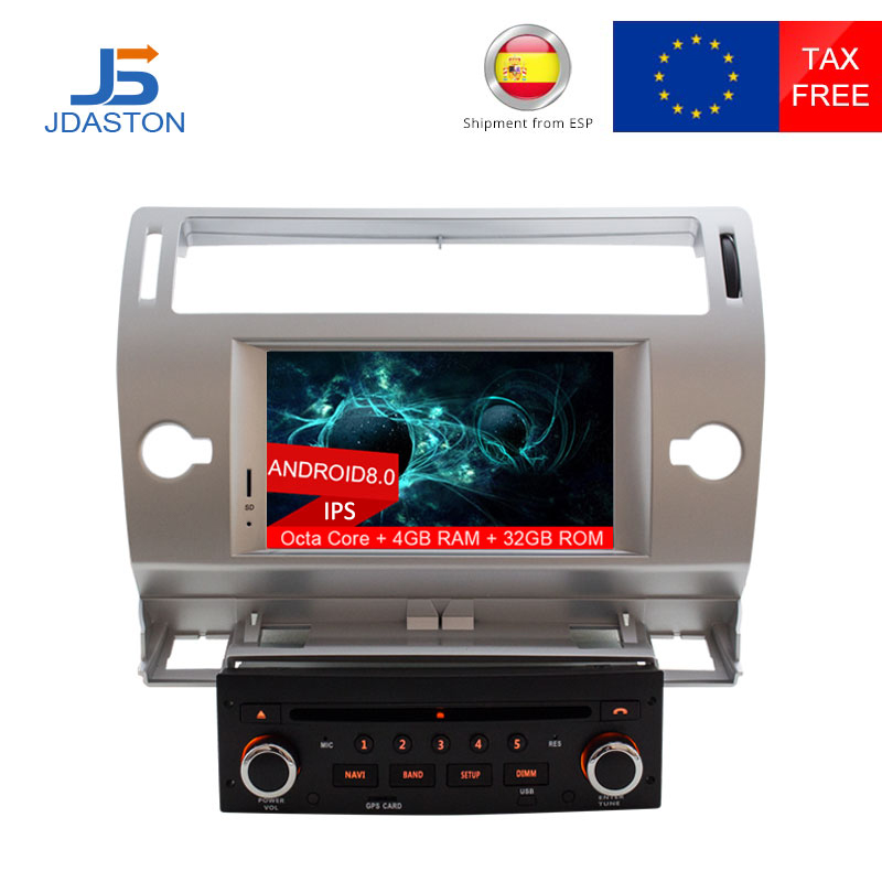 JDASTON Android 8.0 Lettore DVD Dell'automobile Per Citroen C4 Quatre Trionfo Multimedia Video Player 4g + 32g WIFI GPS di Navigazione Radio Stereo