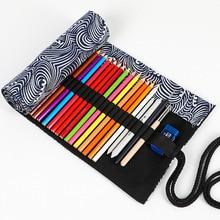 лучшая цена Roll School Pencil Case for Girls Boys Penal Pencilcase Large 12/24/36/48/72 Pen Bag Canvas Penalties Box Stationery Pouch Kit