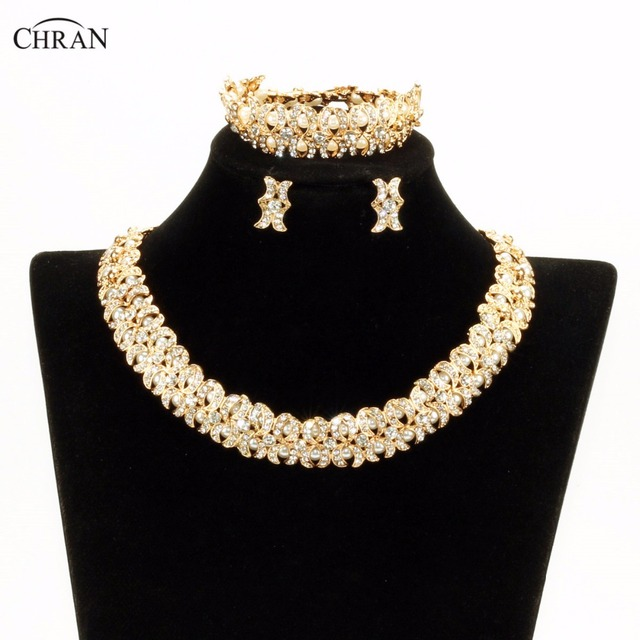 Chran New Faux Pearl Necklace Earring Bracelet African Costume