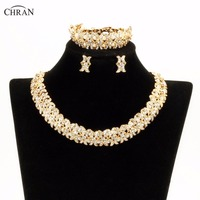 Chran New Faux Pearl Necklace Earring Bracelet African Costume Jewelry Sets Gold Color Rhinestone Crystal Wedding Bridal Gift