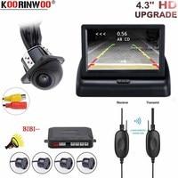 Koorinwoo Car Reverse Video Parking Radar 4 Sensor Rear View Camera Backup Security System Buzzer Alert For Car Foldable Monitor