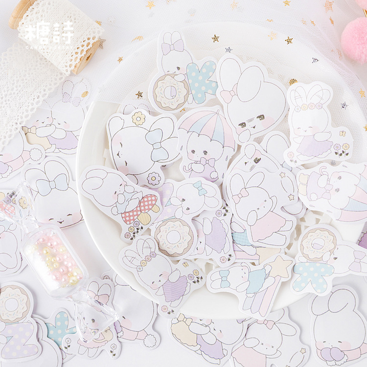 45 Pcs/pack Soft Girl Rabbit Bullet Journal Decorative Stickers Scrapbooking Stick Label Diary Stationery Album Stickers
