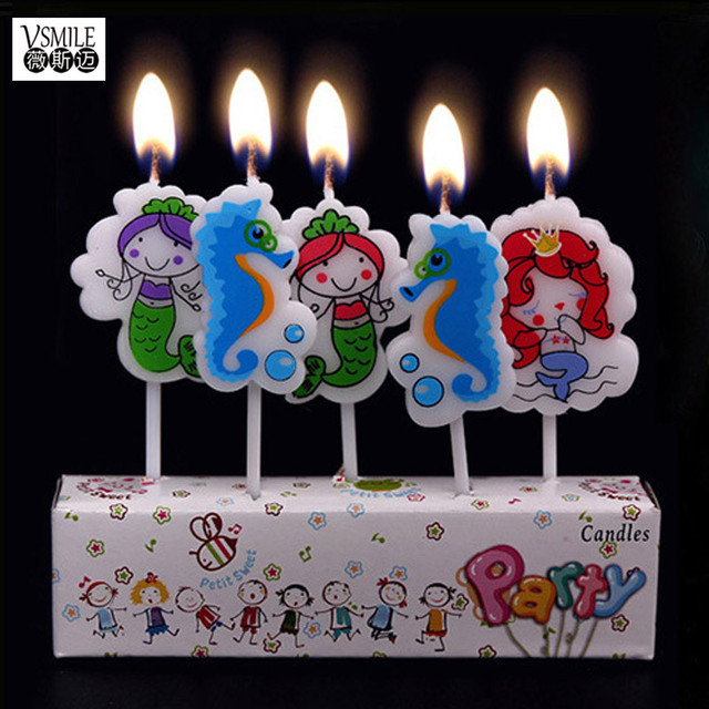 5pcs Cute Sea Horse mermaid princess Animals Happy Birthday