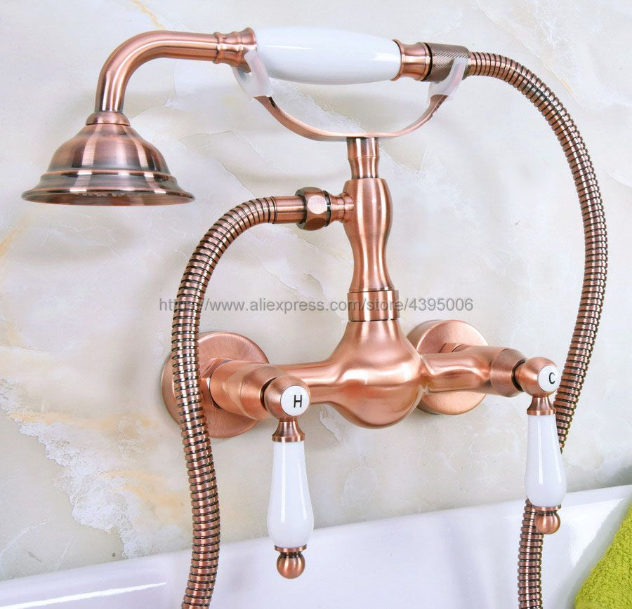 Antique Red Copper Bathroom Bath Wall Mounted Hand Held Shower Head Kit Shower Faucet Sets Bna308