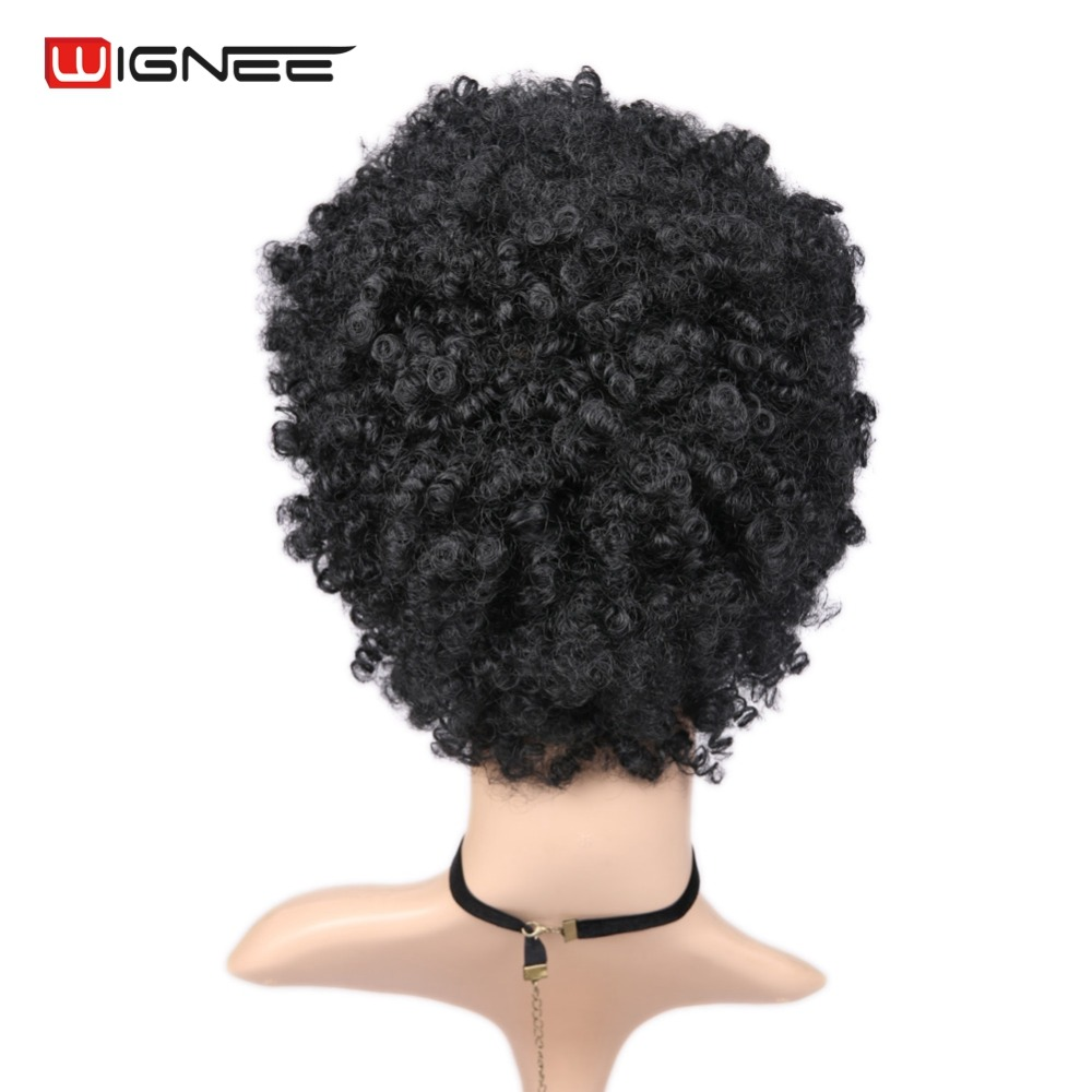 Wignee Short Hair Afro Kinky Curly Wig High Density Temperature - Synthetic Hair - Photo 6