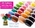 Segura 24 colores Ultra ligero de arcilla de polímero suave de plastilina 3D Set juego Doh plastilina juguete DIY