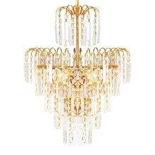 Luxury Royal Golden Crystal Chandelier DIY Crystal Lighting Fixture Hanging Lusters De Cristal Lustres Led E14 Pendant Art Lamp