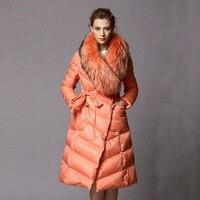 2018 длинные утепленные парки Роскошный натуральный мех енота воротник высокого класса брендовая зимняя куртка женская 90% белая куртка пухов