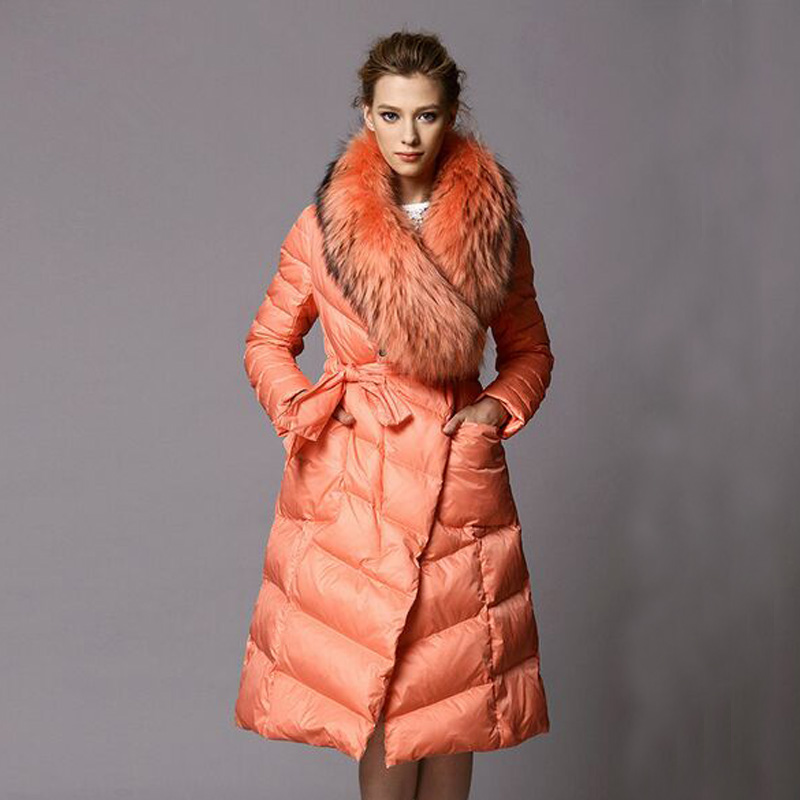 2019 Long Thickening Parkas Luxury Real Raccoon Fur Collar High-end Brand Winter Jacket Women 90% White Duck   Down   Jacket   Coat