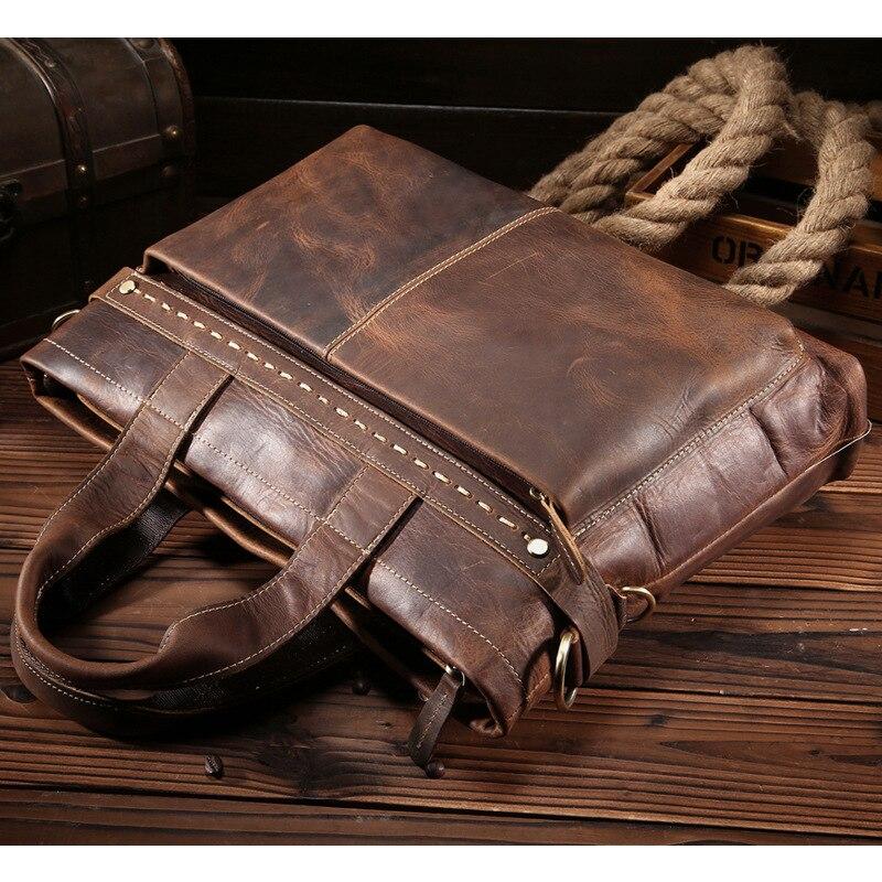 Nesitu rocznika A4 brązowa prawdziwa skóra mężczyźni teczki grube szalony koń skórzane torby listonoszki mężczyzna portfel M8029 3 w Teczki od Bagaże i torby na  Grupa 3
