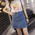 New A-line Button Jean Skirt Women Autumn Winter 2016 Mini Empire Denim Skirt Fashion Female One-step Skirts JD802-2