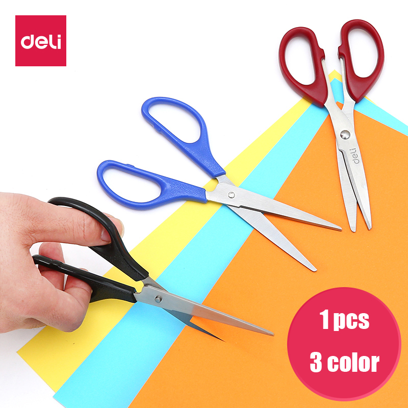Deli 6034 Stationery Scissors Stainless Steel Household Office Paper Cutting School Student Aper Cut Craft Scissors