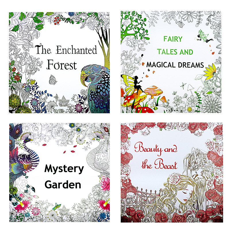 4 Pcs 25*25cm Enchanted Forest+Beauty And The Beast+Secret Garden+Fairy Tale Dream Coloring Book Children Adults Colouring Book