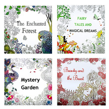 4 pcs 25*25cm Enchanted Forest+Beauty and the Beast+Secret Garden+Fairy tale dream Coloring Book Children Adults Colouring Book creative animal colouring book for children adult relieve stress secret garden kill time graffiti painting drawing coloring book
