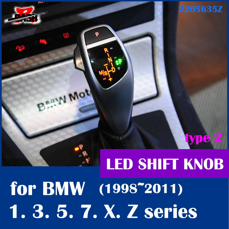 Free shipping LED shift knob gear selector lever handle for BMW E38 E39 E60 E46 E90 E92 E82 E87 E84 E83 E53 E85 E89 1998 2011 executive car