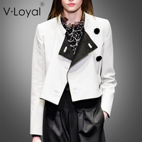 Spring and summer new fashion coloring, small collar, short jacket, European and American temperament, single side impact color