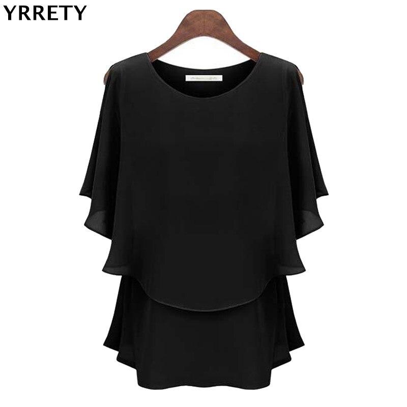 YRRETY New Ruffles Women Tops Fashion 2020 Womens Summer Chiffon Blouse Plus Size 2XL Batwing Short Sleeve Casual O-Neck Shirt