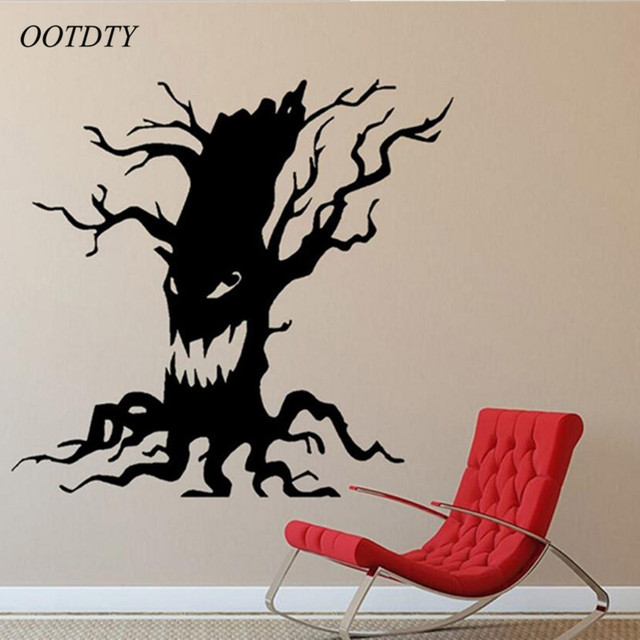 Wallpaper Spooky Tree Halloween Vinyl Art Scary Ghost Face Funny Decor Wall  Stickers Wall Decoration
