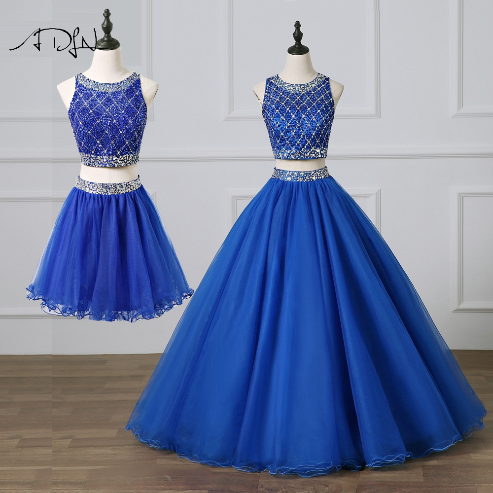 ADLN Gorgeous Two Pieces Quinceanera Dresses Royal Blue Prom Gown with Removable Skirt Heavily Beaded Sweet