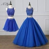 ADLN великолепные Двойка пышное платье Королевский синий Пром платье со съемной юбкой сильно бисером сладкий 15 платье