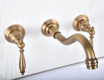 цена на Antique Brass Bathroom Sink Mixer Tap Faucet Dual Handles 3 Holes Mixer Tap Wall Mounted Bathroom Faucet zsf511