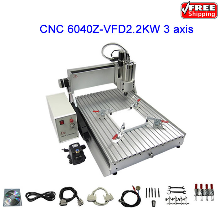 Free ship! High power CNC Router LY 6040Z-VFD2.2KW Engraving machine,milling Machine bigbigroad for toyota sequoia car parking camera app control car wifi dvr video recorder dual lens car black box camcorder