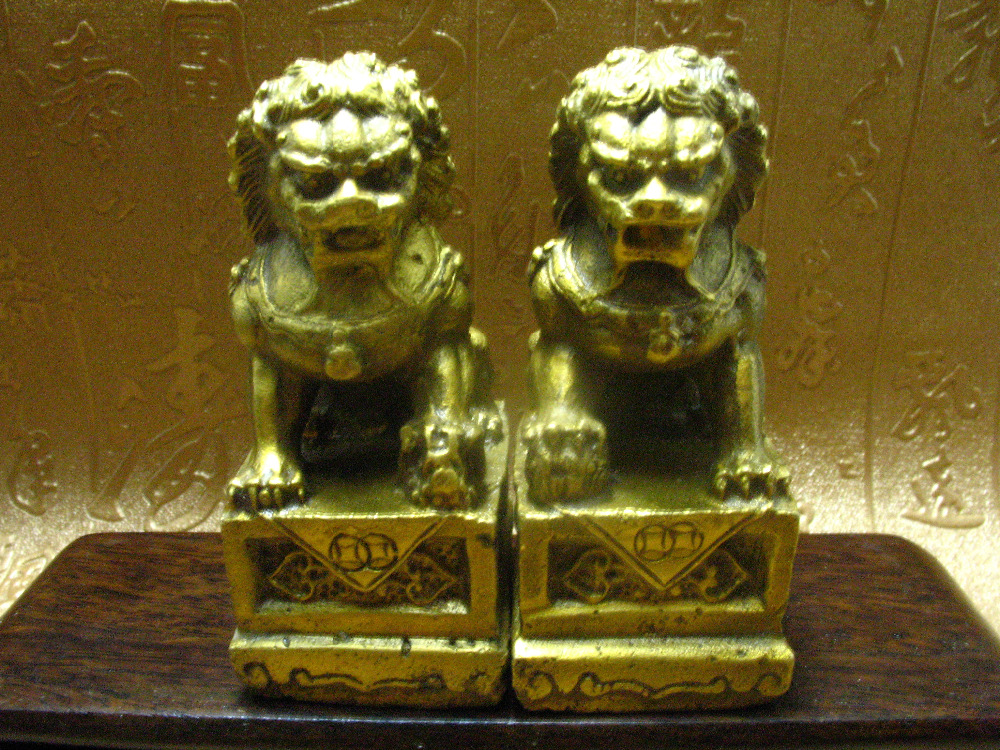 Exquisite Chinese Brass Folk Fengshui Foo Fu Dog Guardion Door Lion Statue Pair