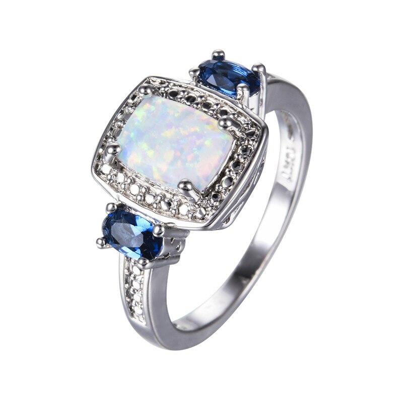 Rectangle White Fire Opal Rings For Women Men Wedding