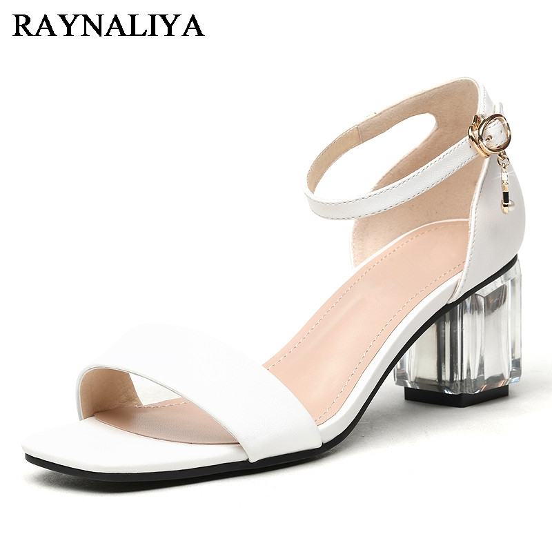 New Arrival Fashion Hot Sale Summer Thick Heel Women Sandals Sexy Ankle Strap Black White Square High Heels Sandals YG-A0107 2017 new arrival abnormal jeweled heels rhinestone crystal embellished high heel sandals ankle strap lock summer party shoes