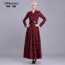 2016 new fashion Muslim clothing Islamic long dress red long sleeve maxi dress vintage slim fit female party dress