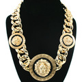 Max Colares Bijuterias Corrente de Ouro Masculina 18K Gold Lion Necklace Hip Hop Neckless Men Collier Women Collier Plastron