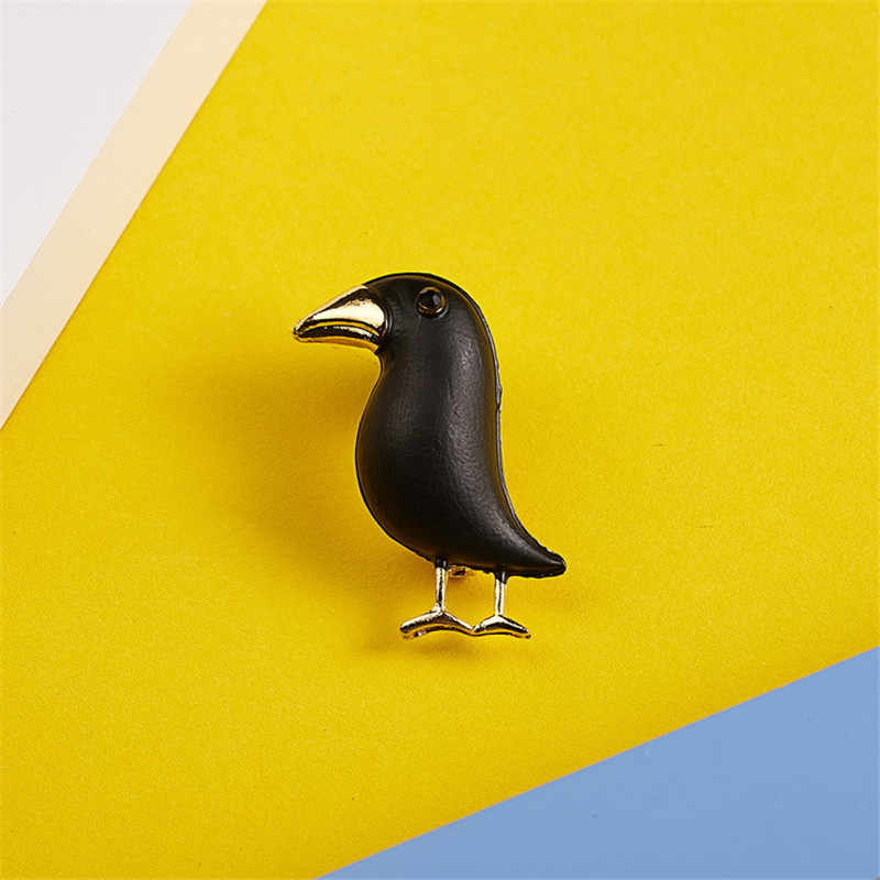 Черная птица брошь для Для женщин животных Броши Pin Модные украшения эмаль Pin подарок на Рождество брохес mujer Пальто аксессуары