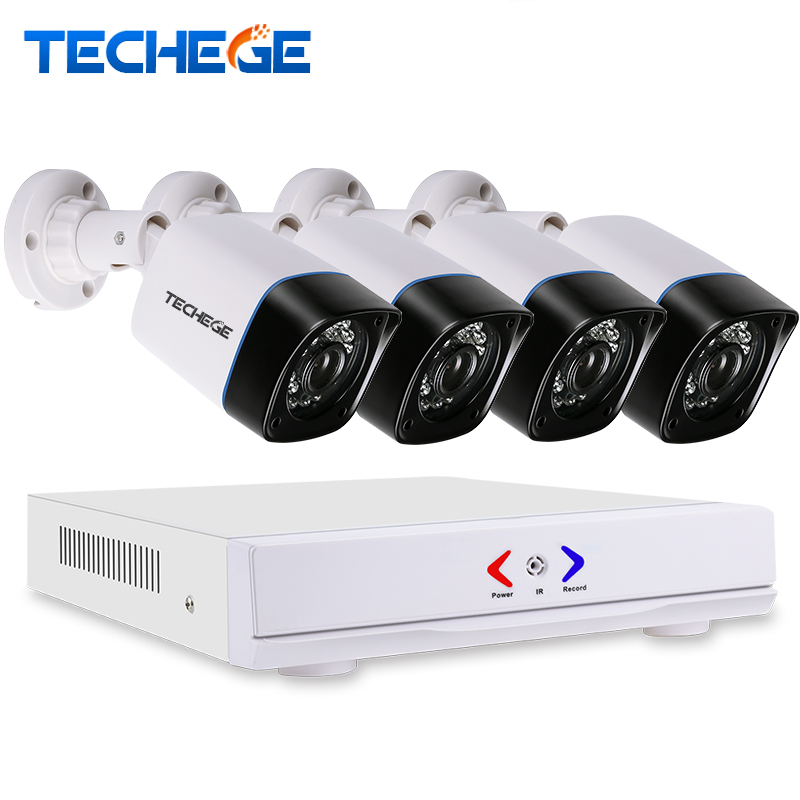 Techege 4CH AHD 3 IN 1 Security DVR System HDMI 1280*720 1200TVL AHD Weatherproof Outdoor CCTV Camera 1.0MP AHD Surveillance Kit anran new listing 8ch ahd camera system 1080n hdmi dvr p2p 8pcs 1 0 mp 1800tvl ir outdoor cctv camera system surveillance kit