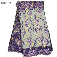 New Design Fancy Pattern Korea Fabric With Beads High Quality Colorful Nice African Lace Fabric For
