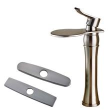 Brushed Nickel Luxury Waterfall Curve Spout Bathroom Vanity Sink Faucet Single Handle Hole Countertop Water Taps