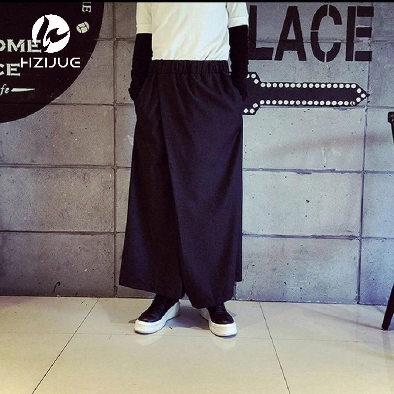 HZIJUE Men Wide Leg Trousers Linen Male Fashion Casual Harem Pant Japan Style Comfortable Skirt Pant