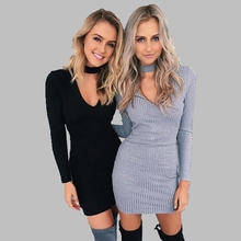2016 New Winter Long-sleeved V-neck Woolen sweater Dress Package hip Slim Thin Large size Dress Female Tight-fitting Shirt AB22