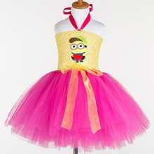 Cute Minions Girls Dress Cosplay Minion Girls Tutu Dress Halloween Costume Christmas Party Performance Princess Tulle Dresses