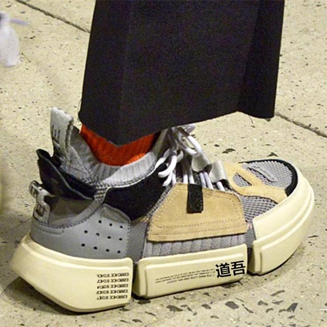 INS/Лидер продаж Мода Коренастый кроссовки ВПП разноцветные V Дизайн подошве Круглый носок Обувь для отдыха сетки лоскутное папа обувь