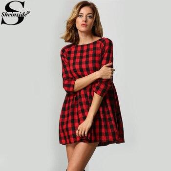 Sheinside Red Black Plaid Round Neck Dress 3/4 Sleeve Cotton High Waist Shift A Line Dress Women Casual School Style Mini Dress