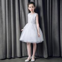 1PC Fashion Grace Little Princess Off White Flower Girl Dress Piano Performance Feast Party 3D Lace Flowers Dress