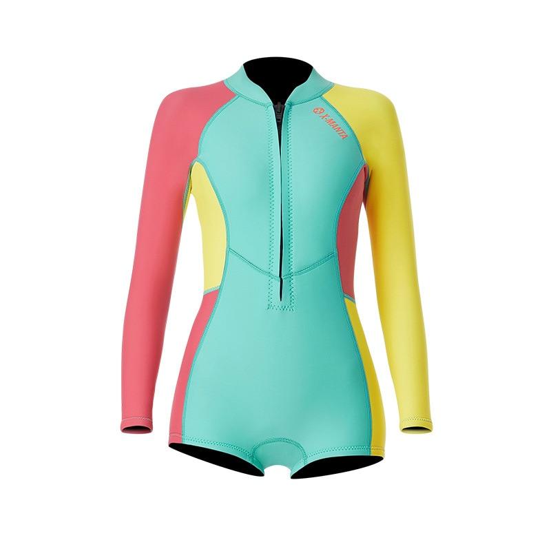 1,5 мм неопрен бикини гидрокостюм УФ Защита с длинным рукавом Дайвинг костюм купальный костюм серфинг подводное плавание чулки купальники - Цвет: Bikini Colorful