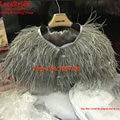 Luxury Grey Ostrich Feather Bridal Jackets 2016 Wedding Fur Boleros for evening dresses para novias Cape Wedding Accessories B61