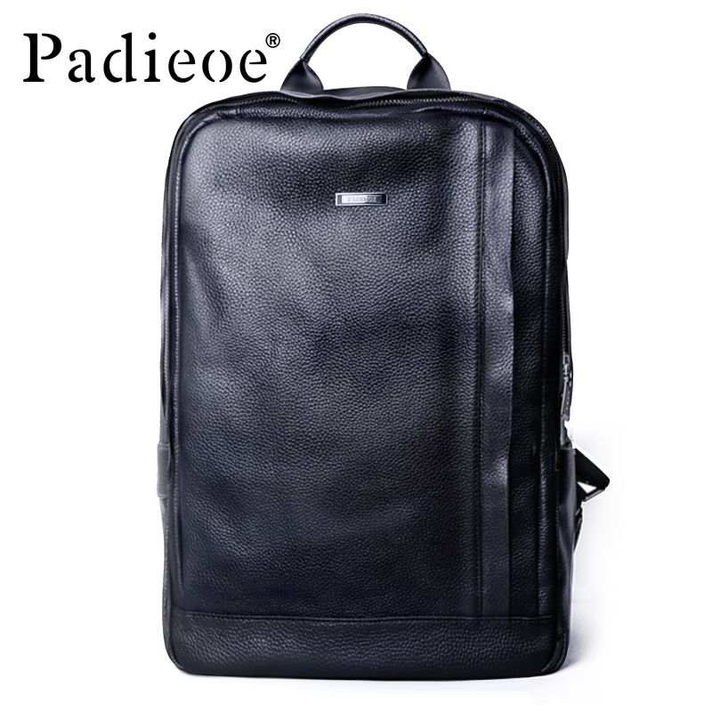 Padieoe High Quality Student Shool Mochila for Men Genuine Leather Business Laptop Bag Fashion Big Capacity Travel Backpack Bags men backpack student school bag for teenager boys large capacity trip backpacks laptop backpack for 15 inches mochila masculina